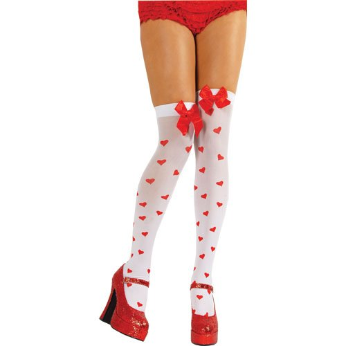 Cupid White Thigh Highs Stockings With Red Hearts & Bow