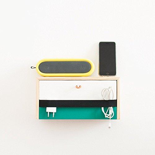 Mesita estante minimalista de pared con cajón de madera maciza