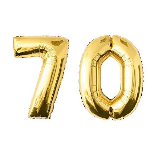 NUOLUX 52.49 pulgadas de oro de hoja de globo, Jumbo número 70o globo para el cumpleaños del festival Aniversario de la fiesta Decoraciones Photo Props