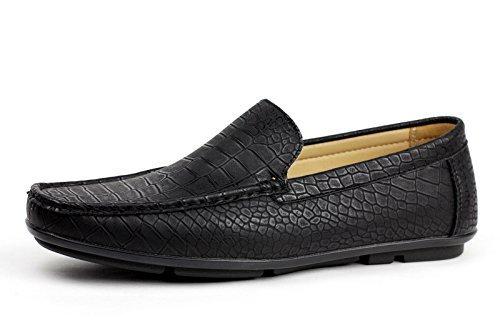 Herren ohne Bügel Krokodil Muster Slipper fahren Schuhe sportlich schick Mokassin Stil GB Größe - Schwarz, EU 43 (Schwarzer Mokassin)
