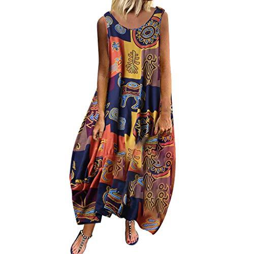 Moonuy Frauen ärmelloses Leinenkleid Vintage Print Floral ärmellose O-Neck Straps Mode Maxi-Kleid (80er Jahre Kleiderschrank)
