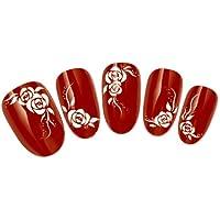 Come2Buy–Tatuaggio trasferibile per nail art, ad acqua, motivo: rose/fiori e