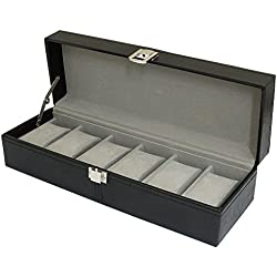 Black PU Leather 6 Watch Storage Box by Harvey Makin