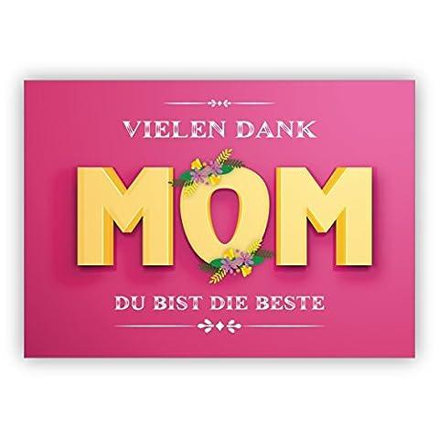 1 Schöne rosa Dankeskarte/ Muttertaggskarte, Geburtstagskarte, Weihnachtskarte: Vielen Dank Mom Du bist die