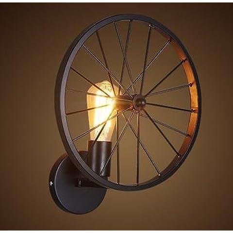 FWEF Lron tipo botón pared lámpara Retro personalidad personalizada Restaurante Bar país industrial iluminación rueda de viento iluminación aplicaciones 10-30 metros cuadrados (30 * 33cm)