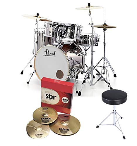 Pearl Export EXX725S LA Rock Fusion Drum Kit Smokey Chrome, Sabian Cymbals With Stool