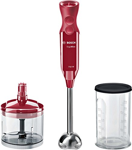 Bosch msm67120r ErgoMixx Stabmixer, 750W, Drehzahlregler und Turbofunktion, Kuppel mit vier Klingen, mit Fleischwolf und Mixer-Mixbecher, Rot Bordeaux
