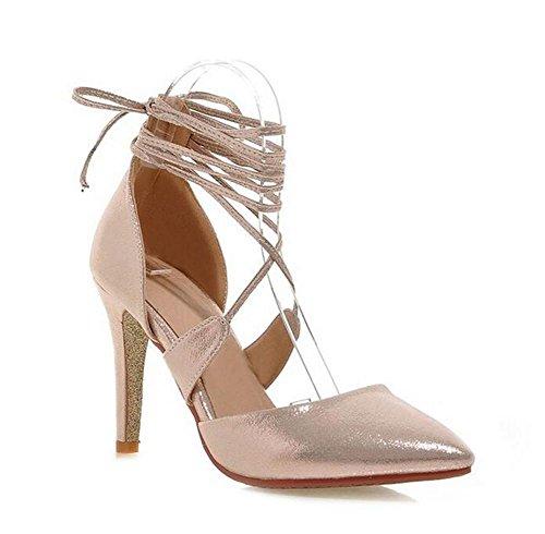 DamenschuheWomens flachen Mund Gericht Schuhe Cross Riemen mit spitzen Zehe dünn mit High Heels Sandalen , gold , (Gold Sexy Erwachsene Schuhe)