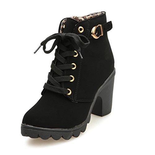 Stiefel Damen Winter Herbst Stiefel mit hohem Absatz Schnüren Stiefeletten Damen Schnalle Plateauschuhe (Schwarz, 38) ()
