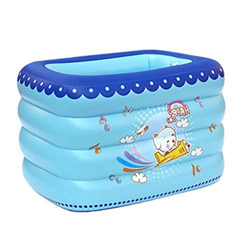 GYL Familien-aufblasbarer Swimmingpool, tragbarer Speicher, quadratisches aufblasbares Planschbecken, großer Ozeanball-Pool des Babys, faltende Badewanne, Blau, 120 * 100 * 75cm -