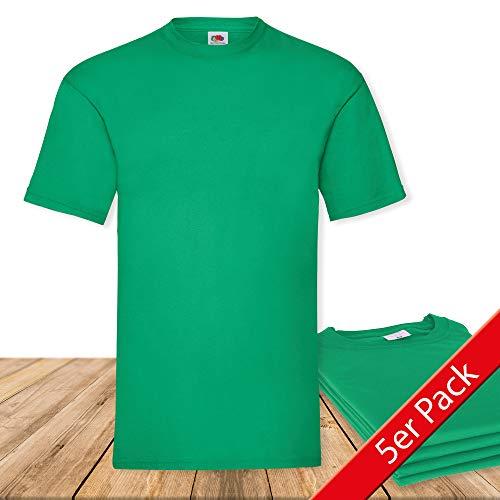Fruit of the Loom Original  T Rundhals T-Shirt F140 5er Pack- Gr. XXL, Kelly Green
