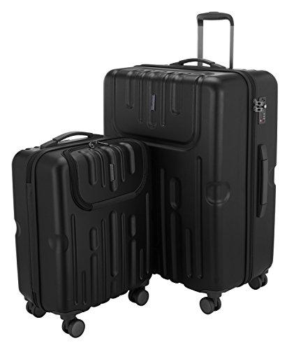 HAUPTSTADTKOFFER - Havel - 2er Koffer-Set (Handgepäck mit Laptop-Fach und Großer Reisekoffer) Trolley-Set Rollkoffer Hartschalenkoffer, TSA, (S & L), Schwarz