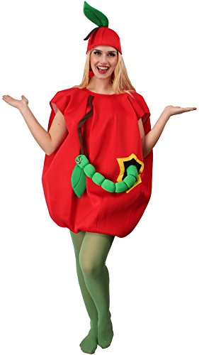 (KARNEVALS-GIGANT Apfel Kostüm rot-grün für Erwachsene | Einheitsgröße | 1-teiliges Obst Kostüm für Karneval | Apfelkostüm Unisex Faschingskostüm)