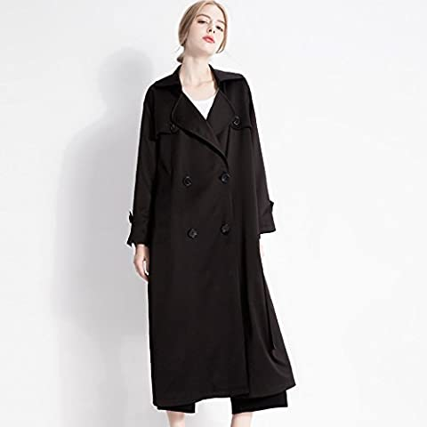 WH New Europe And Plus Size Women Wear A Solid Color In The Autumn Big Windbreaker Jacket , black