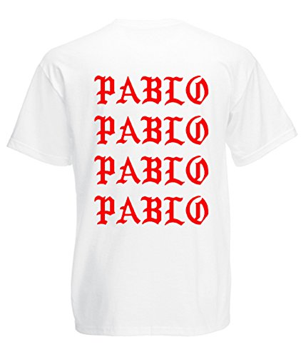 TRVPPY Herren T-Shirt I FEEL LIKE PABLO in vielen versch. Farben mit Rücken -und Brustaufdruck, Gr. S-5XL Schwarz-Weiß