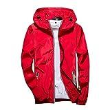 MIRRAY Herren Casual Pure Color Plus Size Hoodie Reflektierender Reißverschluss Outdoor Sport Mantel