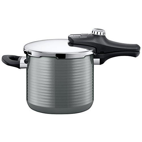 Silit Sicomatic econtrol Schnellkochtopf 6,5l, Silargan Funktionskeramik, 3 Kochstufen Einhand-Drehregler induktionsgeeignet, spülmaschinengeeignet, grau, Ø 22 cm