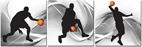 cufun Kunst-Basketball Sports Zeichen Leinwand Wand Kunst für Jungen Raum Baby Kinderzimmer Décor Kinder Basketball Jungen Geschenk, gray, black and orange, 30cm x 30cm x 3pcs