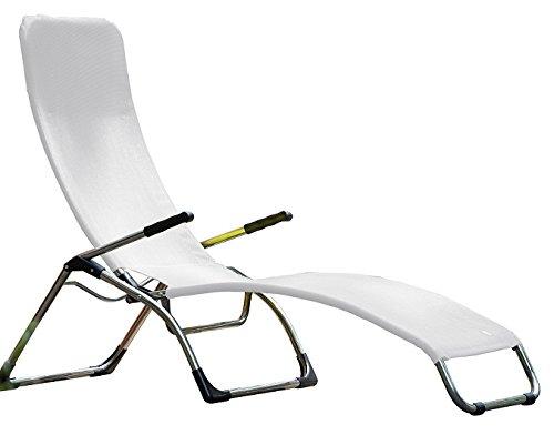 Samba Fiam sonnenliege Wippschalter Art. 045TXBI Struktur Aluminium und Textilene weiß