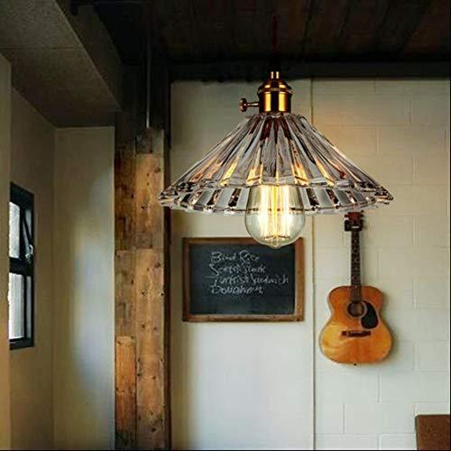 LYCG Araña de Paraguas de Cristal, lámpara Retro Vintage, lámpara de Techo de Cristal Creativa Simple, Bombilla de luz Edison ST64, Barra de balcón para el Dormitorio, Sala de Estar, Comedor