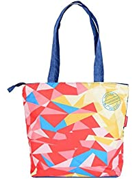 Harissons Mosaic Tote Bag For Women In Navy Blue & Red
