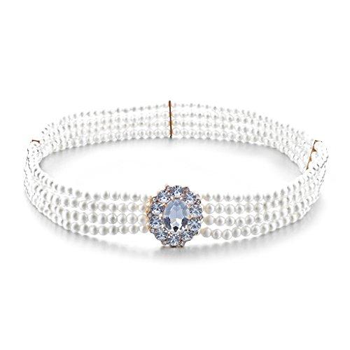 MagiDeal Frauen Perle Oval Kristall Schnalle Dehnbar Taille Korsett Gürtel Taillengürtel Kettengürtel Weiß 72cm (Korsett Perlen)