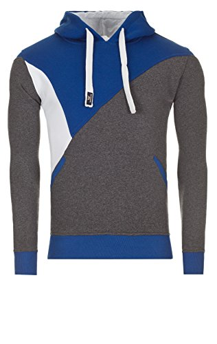 WOOSAH Herren Sweatshirt Shaco anthracite melange / white / blue (110308)