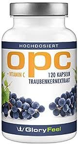 OPC Traubenkernextrakt - PREIS-LEISTUNGSSIEGER 2018* - 120 Kapseln - 600mg OPC (95%) pro Tagesdosis - Französischen Weintrauben - Laborgeprüft ohne unerwünschte Zusätze hergestellt in Deutschland