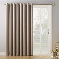 "Sun Zero Easton Extra-Wide Blackout Sliding Patio Door Curtain Panel with Pull Wand, 100"" x 84"", Stone"