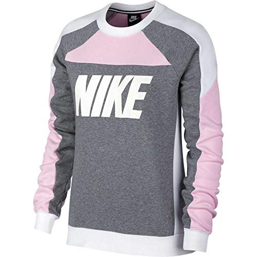 Nike Damen W NSW Crew FLC CB Sweatshirt Pink Foam/Carbon Heather XL