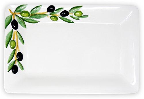 Lashuma Handgemachte, Rechteckige Servierplatte aus Italienischer Keramik, Fleischplatte im Olivendesign, Servierteller 32 x 20 cm