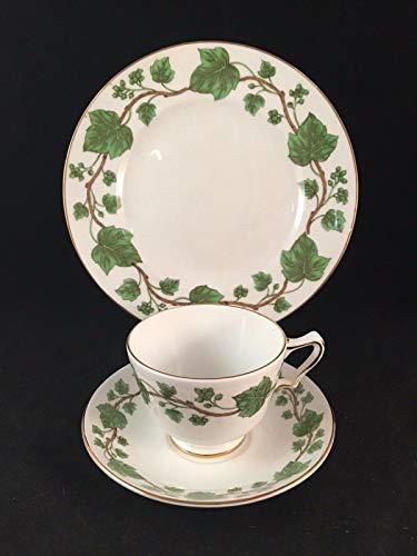 Crown Staf Shire Green Leaf Teetasse, Untertasse und Teller aus feinem Porzellan Crown Staffordshire Bone China