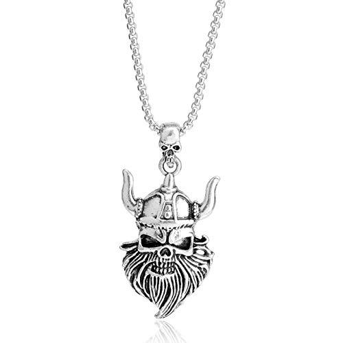 Neues Design Viking Rock Punk Männer Schädel Anhänger Halskette Retro Biker Schnurrbart Kopf Rüstung Piraten Halskette Männer Weihnachtsgeschenk