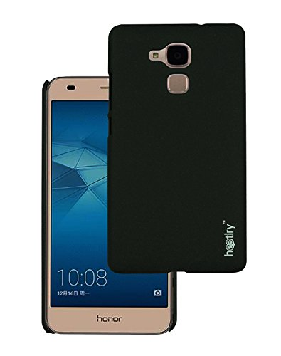 Heartly Premium SandStone Matte Hard Shell Frosted Ultra Thin Bumper Back Case Cover For Huawei Honor 5C - Rugged Black