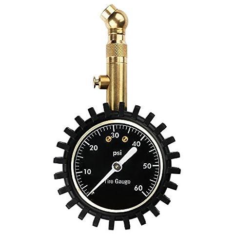 Jauge de pression de pneu professionnel précise Heavy Duty pression d'air Manomètre pour votre voiture camion Pneu de moto et maintenance, 60 PSI