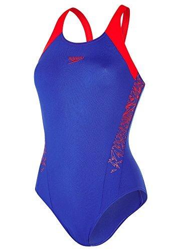 Athletic Badeanzug (Speedo Damen Boom Splice Muscle Back Badeanzug, Blau (Ultramarine/Lobster), DE 32)