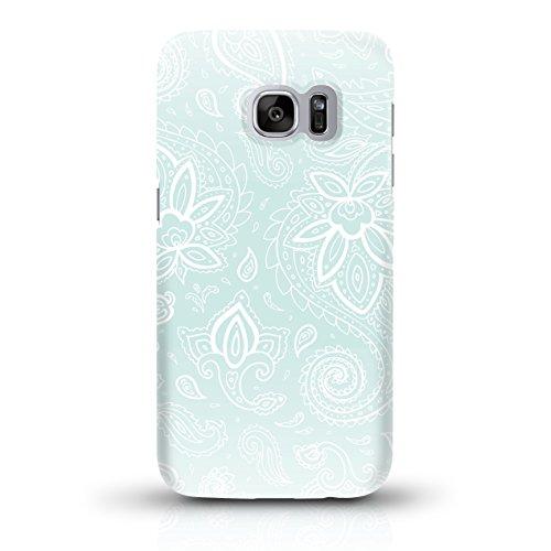 """JUNIWORDS Handyhüllen Slim Case für Samsung Galaxy S7 - Motiv wählbar - """"Anker Design 1 Dunkelblau"""" - Handyhülle, Handycase, Handyschale, Schutzhülle für Ihr Smartphone Weiße Schnörkel Mint"""