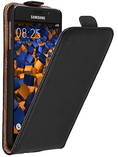 mumbi Echt Leder Flip Case kompatibel mit Samsung Galaxy A3 2016 Hülle Leder Tasche Case Wallet, schwarz