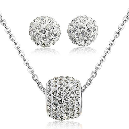 Zirkonia Halskette für Frauen Ball Ohrstecker Schmuck Set Elegantes Geschenk ()
