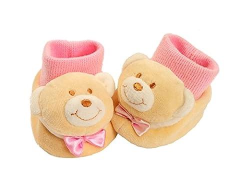 L Ours Baby-Bow rose chaussons souples chaussettes épais naissance bébé 0/6 mois