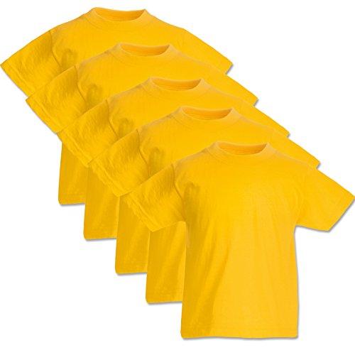 5 Fruit of the loom Kinder T Shirts 104 116 128 140 152 164 Viele Farben 100%Baumwolle (128, Sonnenblumengelb) -