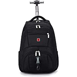 CcBeatY Sac à dos pour ordinateur portable à roulettes, chariot de transport pour bagage à main roulant de 18 pouces Sac d'école Cabine d'ordinateur de grande capacité approuvée Organisateur de sacoch