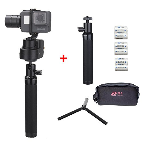 Zhiyun Rider M(Upgraded Version with 4pcs Extra Batteries,Tripod Stand and Extension Pole)wearable 3-Axis gimbal action camera stabilizer for GoPro Hero 5/4/3+/3 ,Yi Cam 4K ,AEE and action cameras of similar size support APP remote control