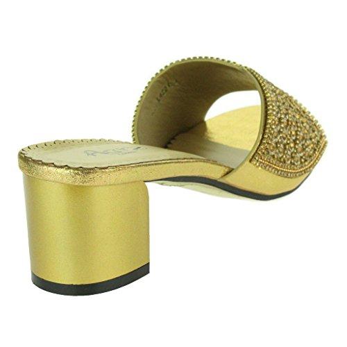 Frau Damen Sparkly Diamant Blockabsatz Schlüpfen Abend Hochzeit Party Prom Sandalen Schuhe Größe Gold