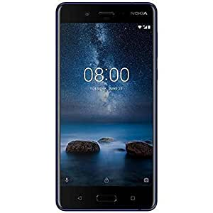 Nokia 8 Smartphone (13,4 cm (5,3 Zoll), 64 GB ROM, 4 GB RAM, 13 MP Kamera, Single Sim, spritzgeschützt (IP54), Android Nougat) glossy blue