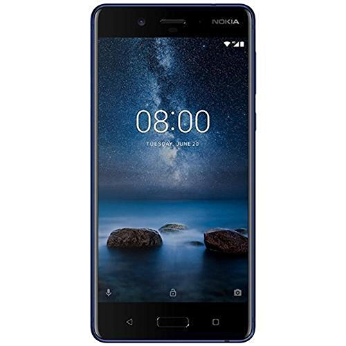 Nokia 8 13,4 cm (5,3 Zoll) Smartphone - deutsche (128 GB ROM, 6GB RAM, 13 MP Kamera, Single Sim, spritzgeschützt (IP54), Android Nougat) Glossy Blue