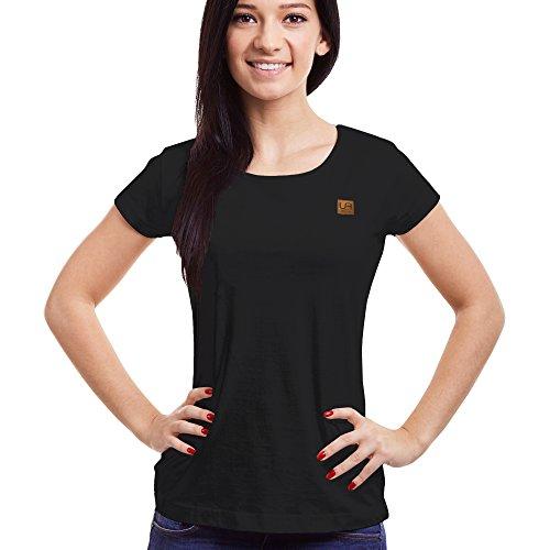 urban air StyleFit | T-Shirt | Damen | Sport, Freizeit | 100% Baumwolle, Leder-Patch, Rundhals, Kurzarm | Schwarz, Hell/Dunkel Grau, Weiß | S, M, L, XL | (XL, Classic Schwarz) (T-shirt Patch-Ärmelloses)