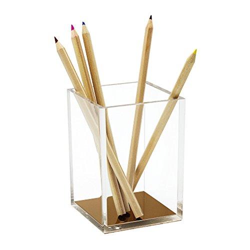 HBF Acryl Stiftenhalter quadratischer Tischorganizer Stiftablagen golde Sohle , Pen Holder Modern Design Office Desk Accessory