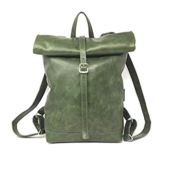 Rucksack Leder Umhängetasche Damen Rollrucksack Reissverschluss Wanderrucksack Wasserdicht Vintage Leder Damen Tragetasche weekender grün