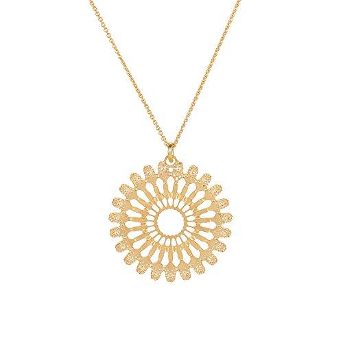 David Aubrey Damen Halskette Sun Circle Sonne Gold - Goldkette Scherenschnitt Lasercut runder Kreis Sonnen-Anhänger 18 Karat vergoldet - ATLN2673